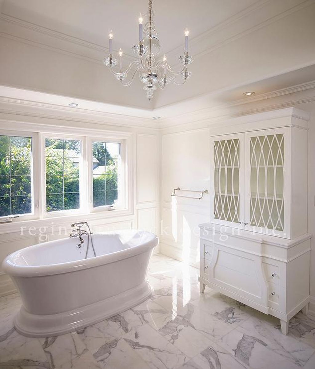Romantic and elegant bathroom design ideas with chandeliers 87 homedecorish Romantic bathroom design ideas