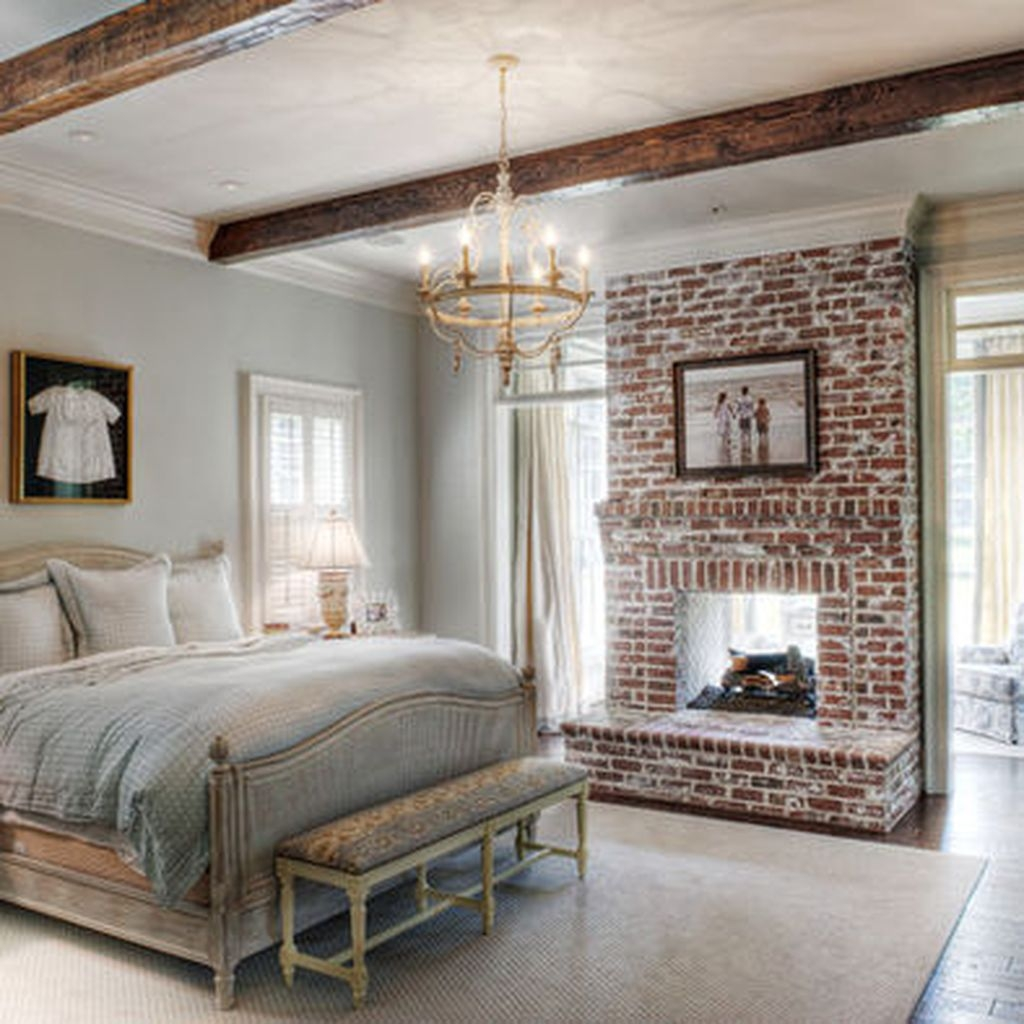 55 elegant rustic bedroom brick wall decoration ideas - Wall hanging ideas for bedrooms ...
