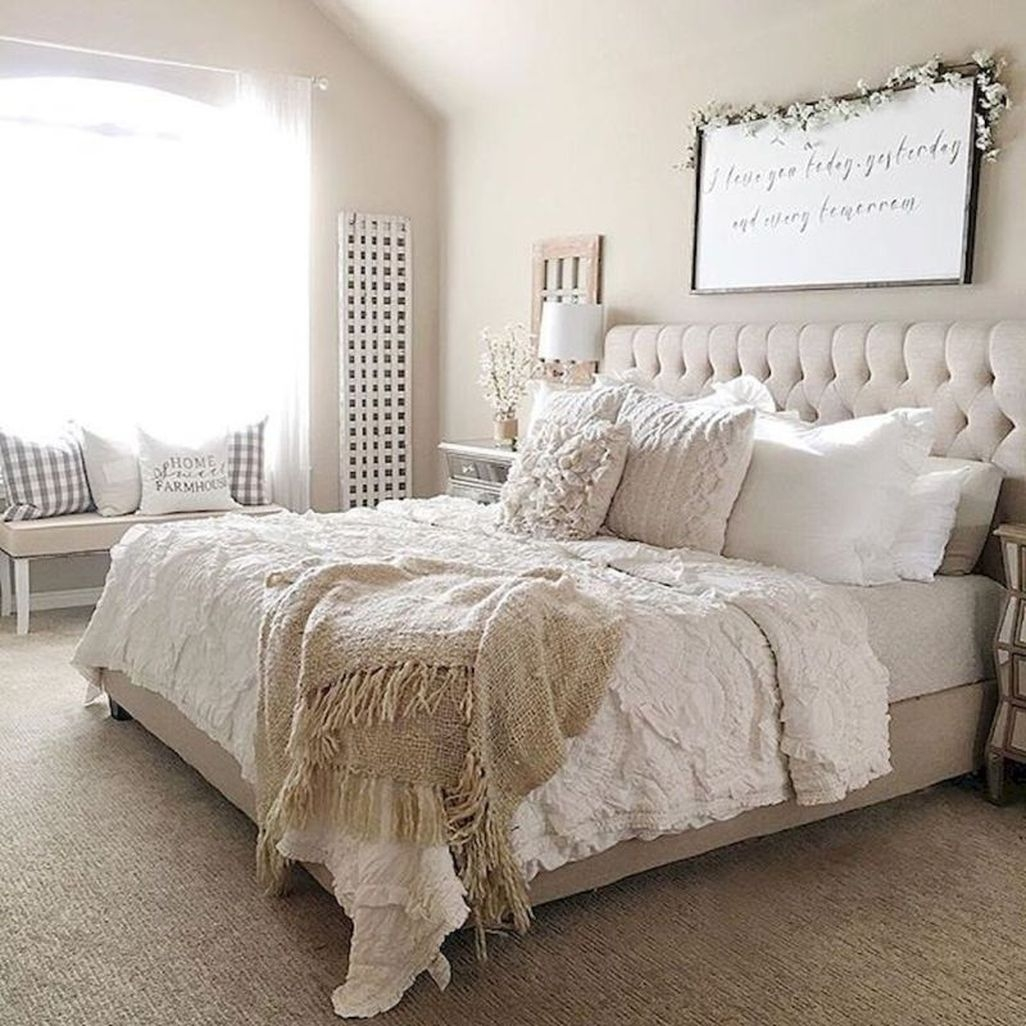 35 Spectacular Neutral Bedroom Schemes For Relaxation: 45 Awesome Rustic Farmhouse Bedroom Decoration Ideas