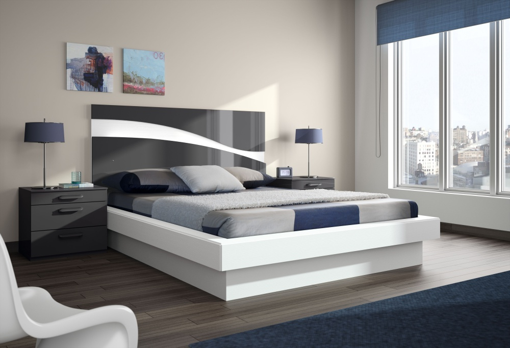 Contemporary Beds Beauteous Upholstered Queen Size Low