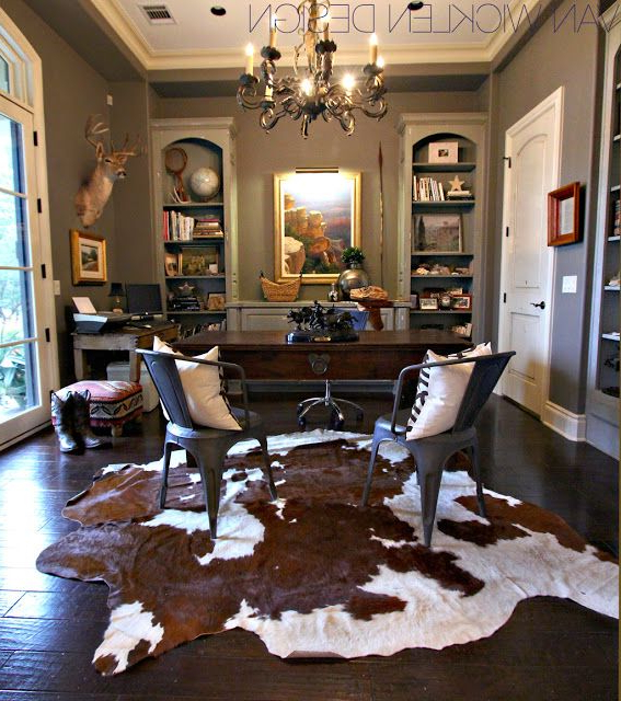 Layered Cowhide Rugs With Images Home Office Design