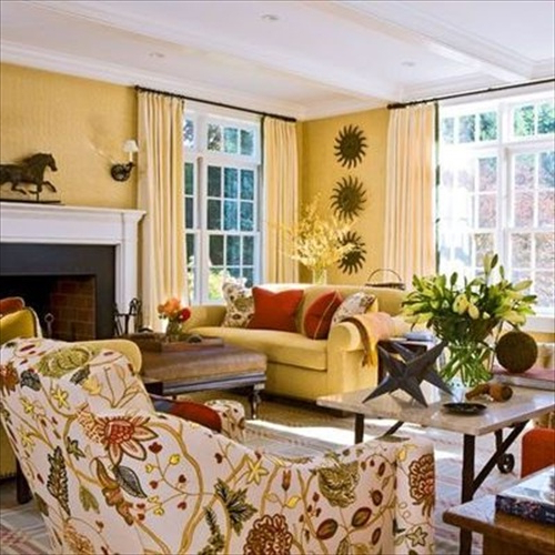 Living Room Design With Butter Yellow Colored With Gold Tones