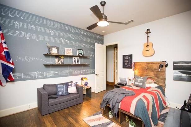 Music Inspired Teen Bedroom With British Flag Decor Hgtv