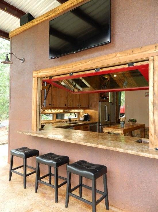 Patio Kitchen Pass Through Window Design Pictures